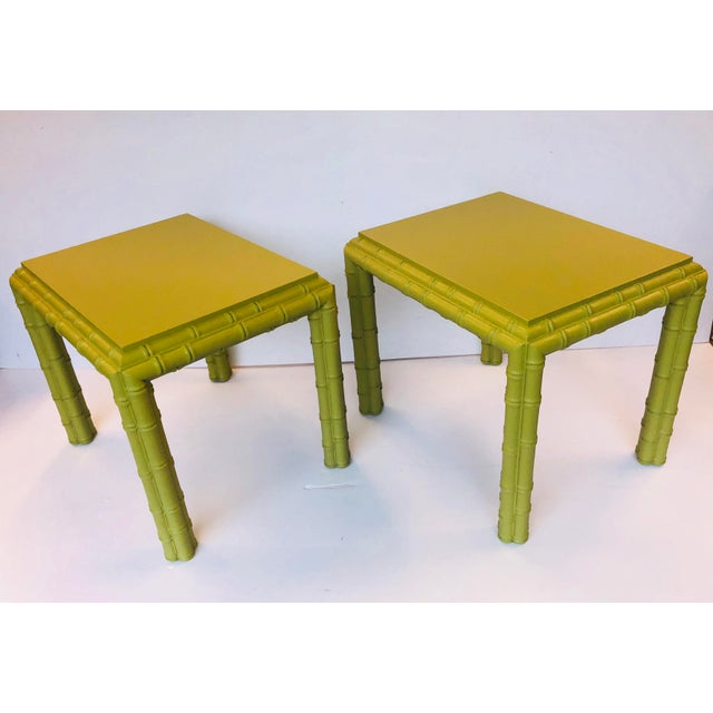 Green Vintage Chippendale Faux Bamboo Side Tables - a Pair For Sale - Image 8 of 8