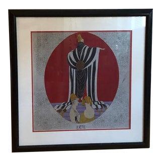 Vintage Framed Art Deco Erte Silk Scarf For Sale