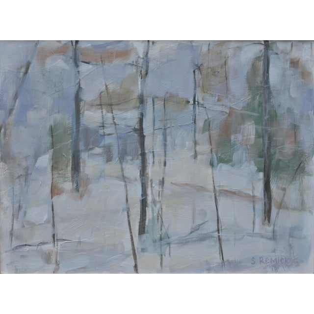 """Contemporary Stephen Remick """"Winter Woods"""" Painting For Sale - Image 3 of 8"""
