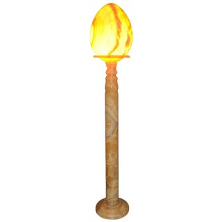 Tall Column Alabaster Floor Lamp with a Large Egg Shaped Shade For Sale
