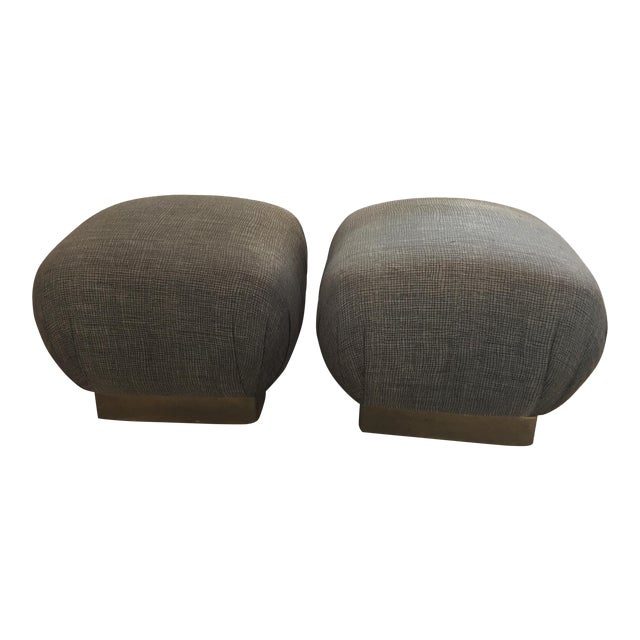 Pouf-Style Brown Ottomans - A Pair - Image 1 of 7