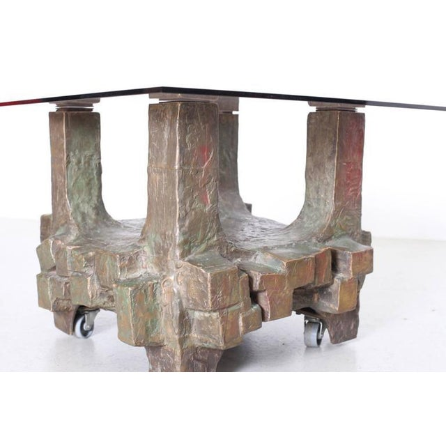 Mid-Century Modern Unique Pair of Brutalist Bronze Side Tables in the Manner of Paul Evans For Sale - Image 3 of 7