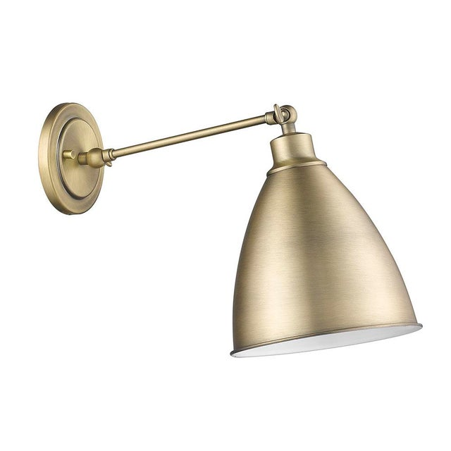 Industrial Lenox 1 Light Sconce, Antique Brass For Sale - Image 3 of 4