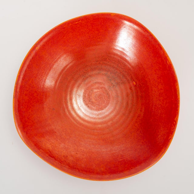 Red Red Glazed Studio Pottery Bowl For Sale - Image 8 of 12