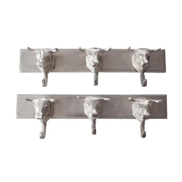 Aluminum Western Bull Head Coat Hooks - Pair - Image 1 of 4