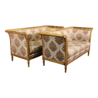Pair Rare Italian Carved Griffin Directoire Genuine Gold Leaf Settee Sofas C1960 For Sale