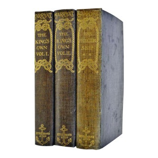 1896 Captain Frederick Marryat The Phantom Ship & The King's Own Hand-made Paper Illustrated Books - 3 Volumes For Sale