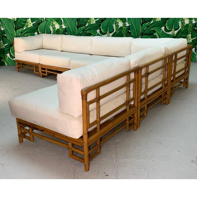 Ficks Reed Rattan Chinoiserie Sectional Sofa For Sale - Image 12 of 12