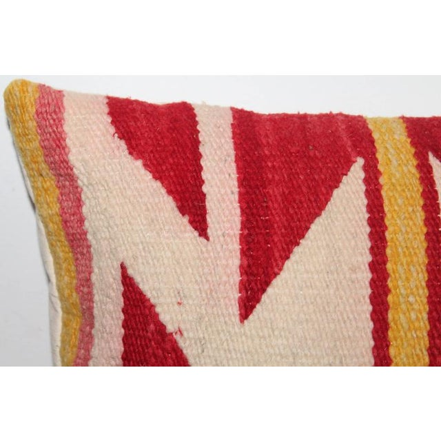 Textile Navajo Indian Weaving Yellow and Red Bolster For Sale - Image 7 of 7