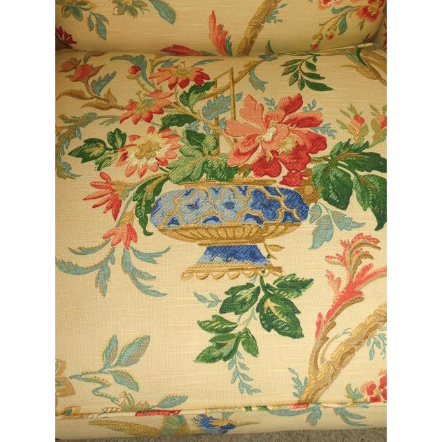 Queen Anne Style Floral Upholstered Wing-Backed Chairs - a Pair For Sale In Denver - Image 6 of 13