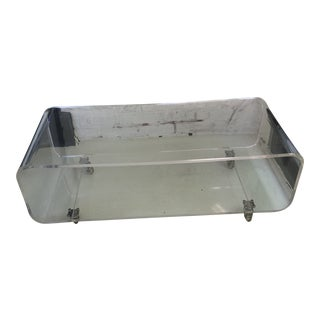 1970's Lucite Waterfall Coffee Table on Wheels For Sale