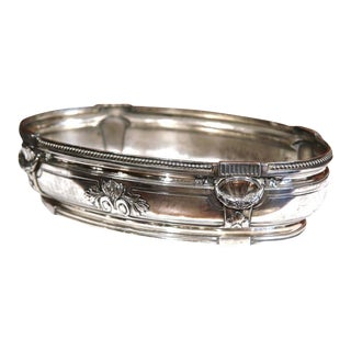 19th Century French Louis XVI Silver Plated Oval Jardinière For Sale