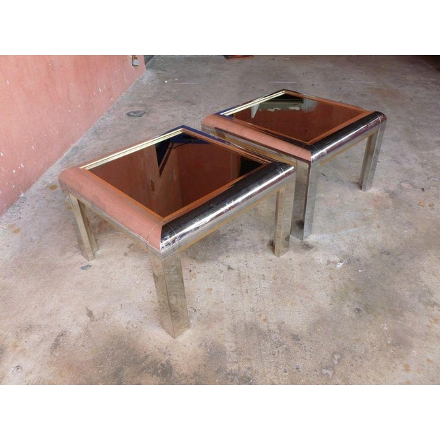 Aluminum 1970's Space Age Mod Chromed Aluminum End Tables - a Pair For Sale - Image 7 of 9