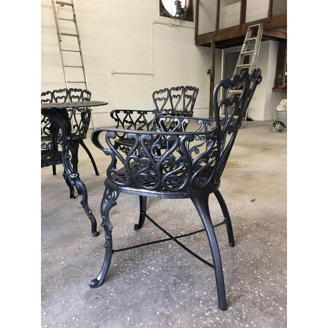 French New Orleans Style Umbrella Dining Table and Chairs Patio Set For Sale - Image 4 of 10