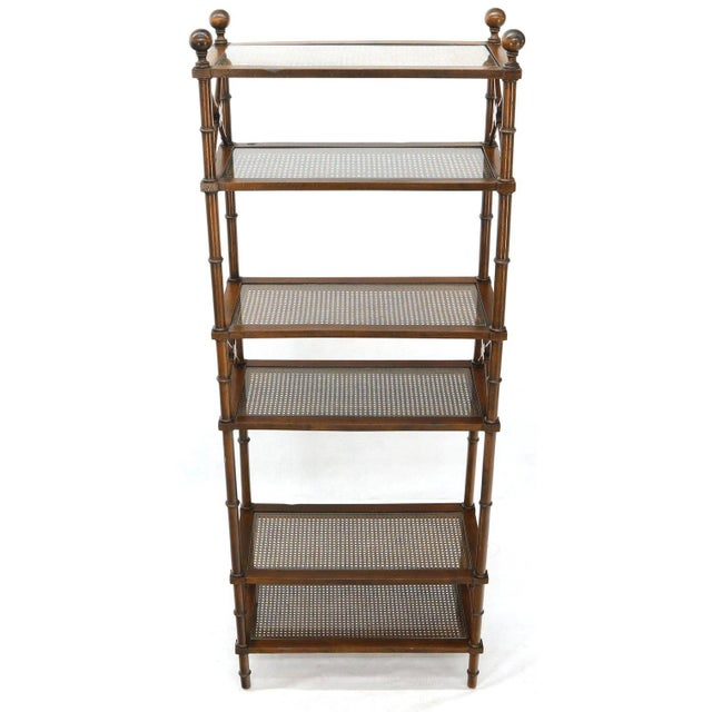 Wood X Stretchers Faux Bamboo Cane and Glass Shelves Étagère Shelves For Sale - Image 7 of 13