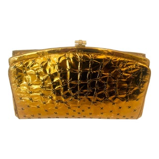 1960s Max Holzman Metallic Copper Leather Clutch For Sale