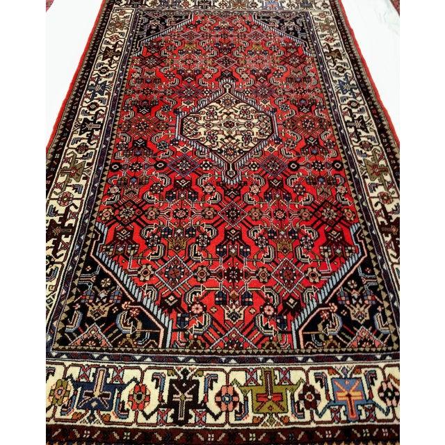 1950s Persian Handmade Village Carpet Rug 4′3″ × 6′11″ For Sale - Image 11 of 13
