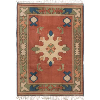 Modern Turkish Copper and Blue Rug- 5′1″ × 8′ For Sale