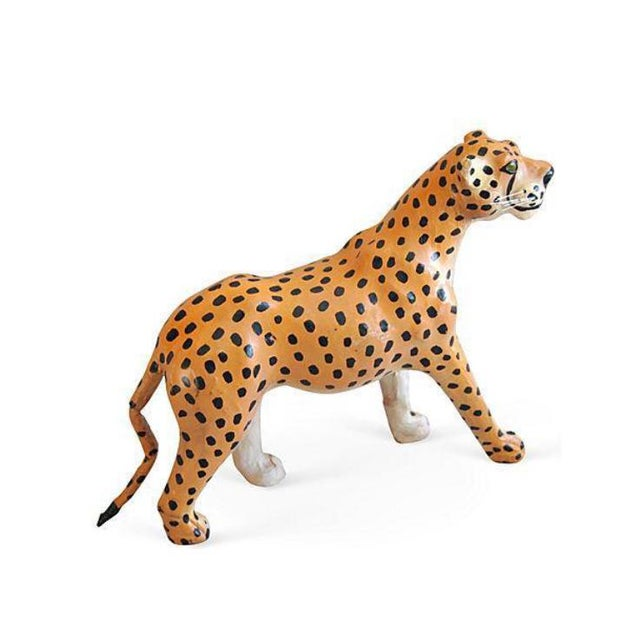Hand Painted Vintage Leather Cheetah For Sale - Image 4 of 6