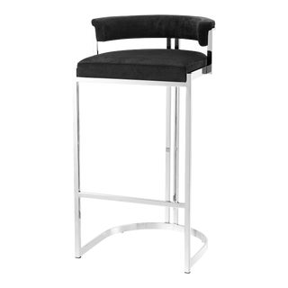 Black Velvet Bar Stool | Eichholtz Dante For Sale