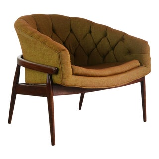 Peabody Barrel Back Chair in Tufted Gold For Sale
