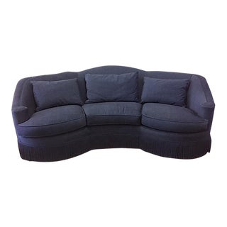 Navy Micro Velvet Vintage Custom Curved Backed Henredon Sofa With Bullion Trim For Sale