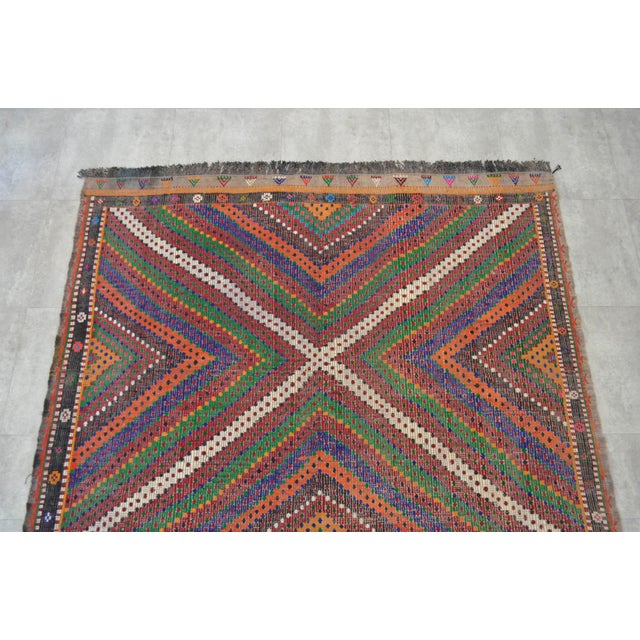 "Hand Woven Turkish Kilim Area Rug - 6'9"" X 9'6"" - Image 6 of 9"