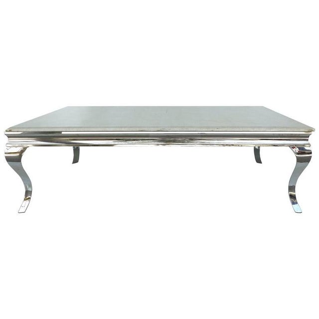 1980s Stainless Steel Cocktail Table with Lacquered Snakeskin Finish Marble Top For Sale - Image 9 of 9