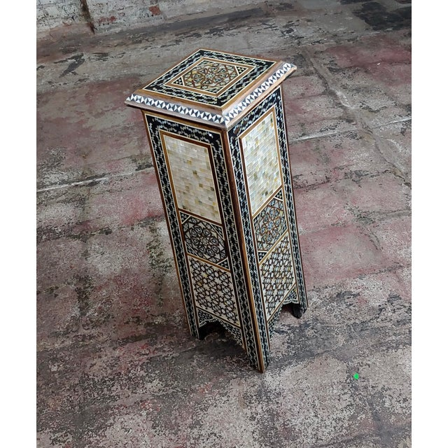 """Syrian Pair of Vintage """"Tower Shaped"""" Petite Inlaid Stands For Sale - Image 4 of 10"""