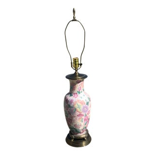 Pink Floral Ginger Jar Table Lamp For Sale