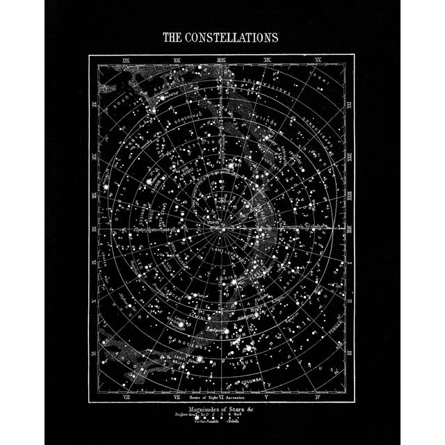 Vintage Constellations Print With Stars Unframed Black For Sale