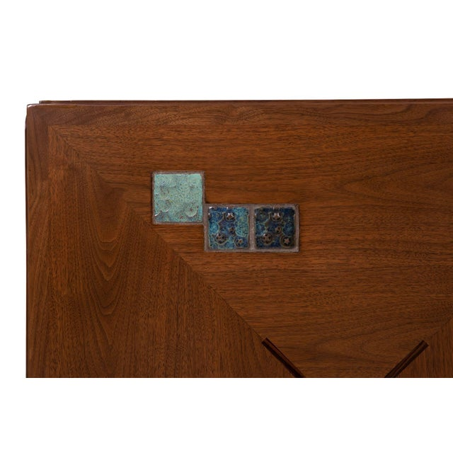 Mid-Century Modern Edward Wormley for Dunbar Dining Table With Natzler Tiles For Sale - Image 3 of 6
