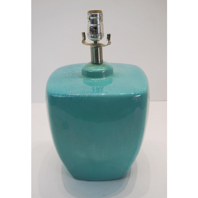 Modern Turquoise Ceramic Table Lamps - a Pair For Sale In West Palm - Image 6 of 10