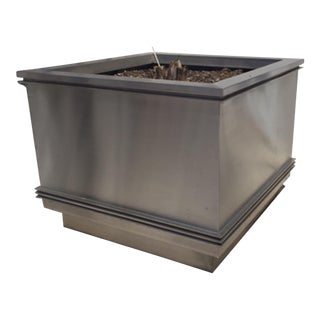 Pair Of American Art Deco Stainless Stainless Steel Large Square Planters For Sale