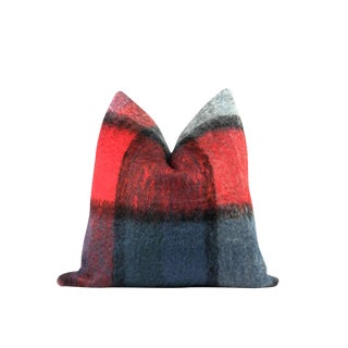 "Red and Indigo Plaid Mohair Wool Pillow 22"" X 22"""