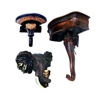 1990s Asian Elephant Bust Figural Wall Shelf, Decorative Bracket and Candle Sconce - 3 Piece Set For Sale