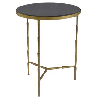 Regency Bamboo Style Brass Table With Slate Top