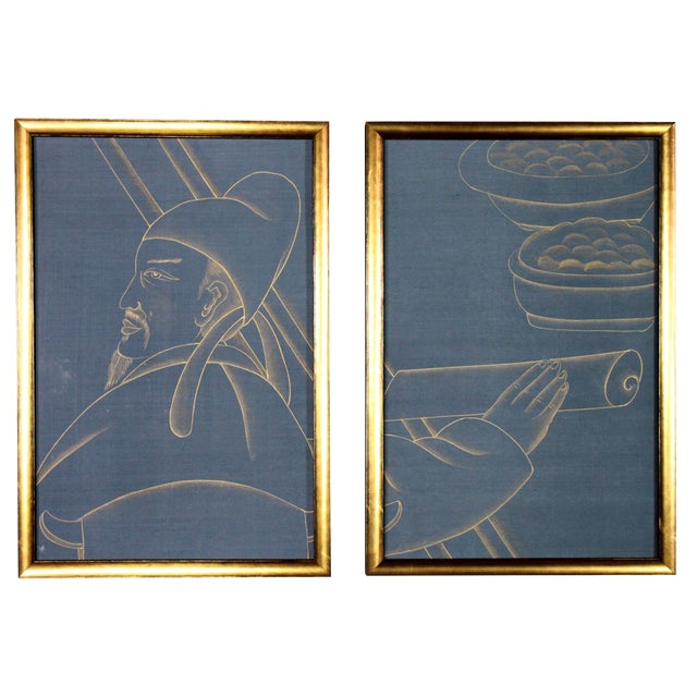 Metallic Gold Paint on Blue Silk Chinoiserie Diptych Paintings - 2 Pieces For Sale