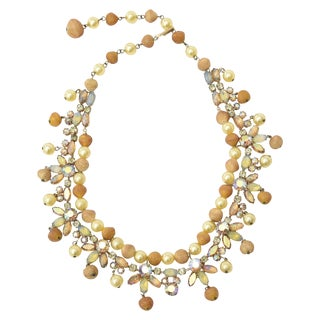 Vintage Signed Kramer Rhinestone, Faux Pearl & Resin Collar Necklace For Sale