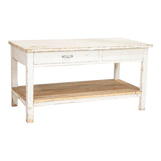Early 20th Century Antique Original White Painted Work Table Kitchen Island For Sale