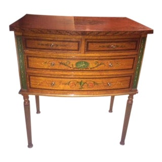 Early 20th Century Vintage English Satinwood Finely Painted 4 Drawers Small Chest For Sale