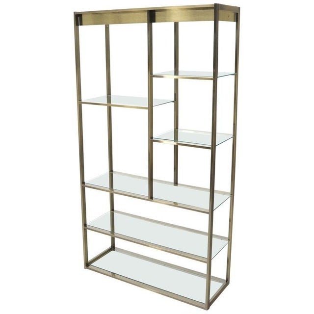 Brass and Glass Lighted Étagère Vitrine For Sale - Image 13 of 13
