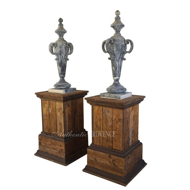 19th Century French Napoleon III Zinc Finial Urns - a Pair For Sale - Image 4 of 11