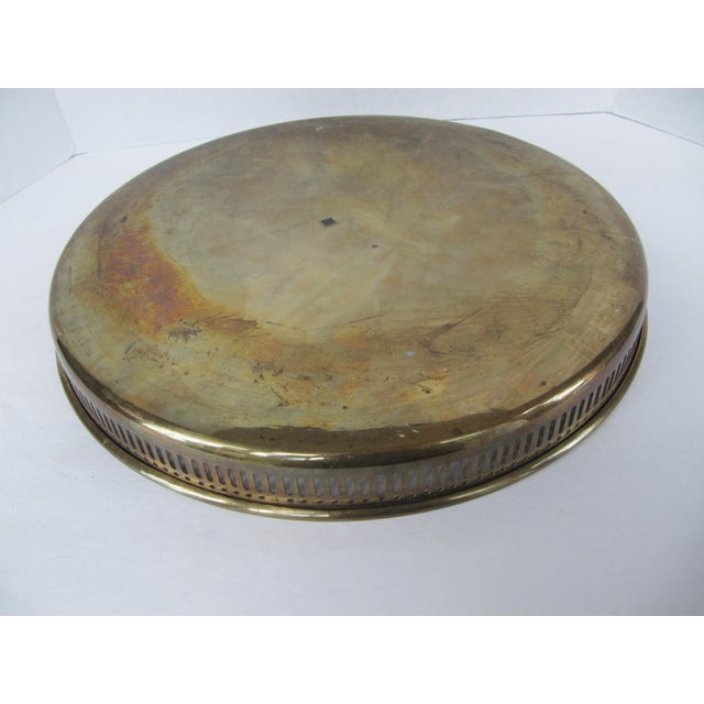 Large Round Vintage Brass Tray For Sale - Image 6 of 8