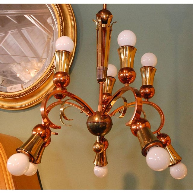 Brass and Copper Chandelier - Image 2 of 10