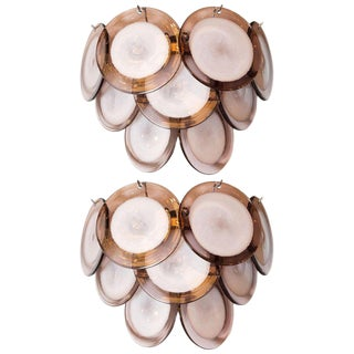 Modernist 9-Disc Hand Blown Murano Amethyst & Translucent Glass Sconces - a Pair For Sale