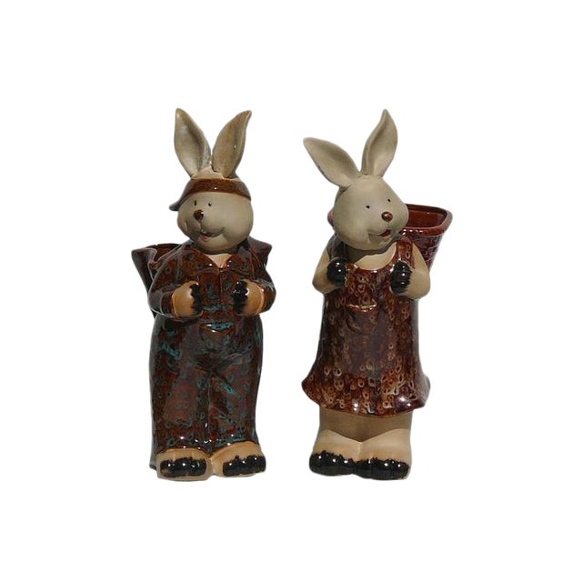 Handmade Ceramic Rabbit With Basket Figures - A Pair For Sale