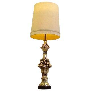 1940s Hollywood Regency Gold Fruit Decor Table Lamp For Sale