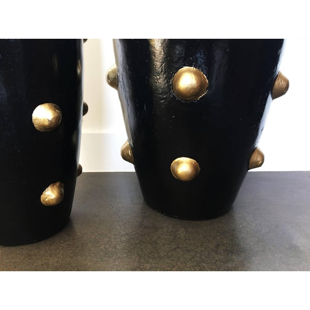 Mid 20th Century Unique Pair of Black and Gold Sculpture Planters For Sale - Image 5 of 8
