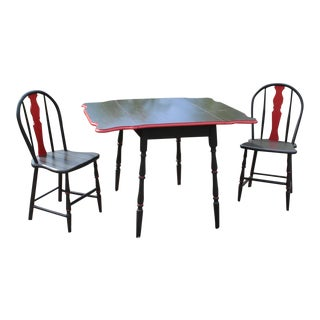 Antique Drop Leaf Table and 2 Chairs For Sale